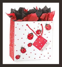 Ladybug & Hearts gift bag wrap supplies black white red