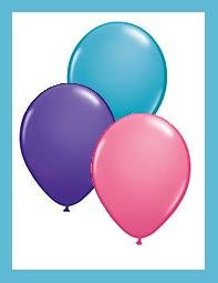 Latex Party Balloon assortment pink/purple/teal - 12ct