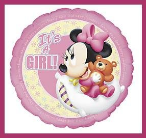 Minnie Mouse Disney It's a Girl baby shower balloons