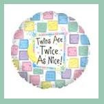 Twins are Twice as Nice pastel baby shower balloons