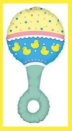 Duck Baby Rattle Balloons - Baby Shower supplies