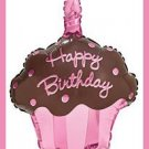Cupcake Mylar balloons - Pink/Brown - birthday supplies