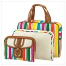 12895 Candy Stripe Cosmetic Bag Trio