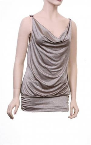 Wet Seal Light Brown/Gold Sleeveless Top/Blouse M L XL