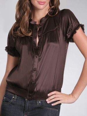 Arden B Silk Lace Trim Charm Blouse Top XS X-Small NWT
