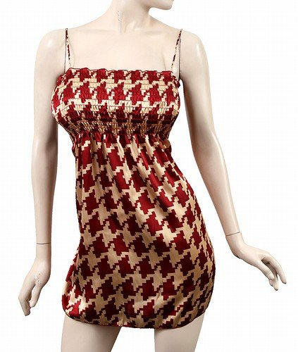 Red-Beige/Gold Houndstooth/Silk/Satin Print Dress Sz M L XL