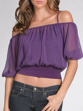 Arden B Black Chiffon Cropped Blouse Top XS Extra Small