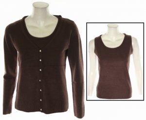 Brown Black Ivory Gray Cardigan Sweater w Sleeveless Tank Top S M L XL