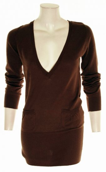 Brown Deep V-Neck Long Sweater S Small M Medium Large L