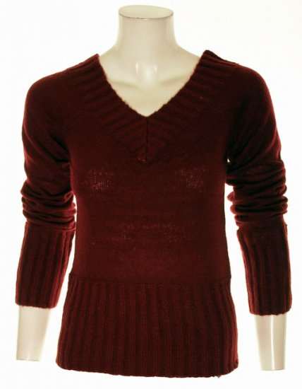 Red/Burgundy Ribbed V-Neck Sweater S M Medium L Large