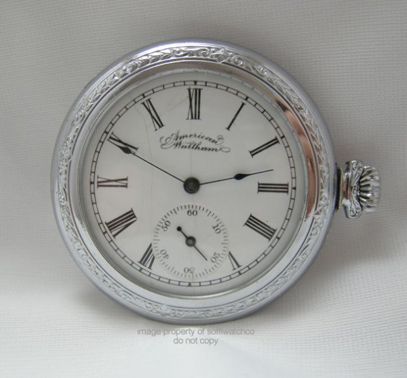 Vintage American Waltham Side Winder Open Face Pocket Watch Circa 1893