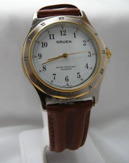 Gruen Mens Quartz Wrist Watch w/ Handsome Leather Band