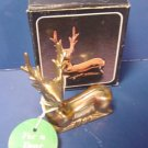 Solid brass seated deer figurine For A Dear Friend, for office desk or animal lover