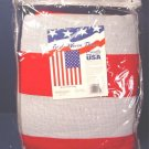 USA American Flag triple woven throw in package 100% acrylic, U.S. red white blue stars stripes
