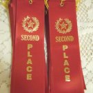 Ribbon award Second Place lot of 25 2nd prize red satin with gold star letters and record card
