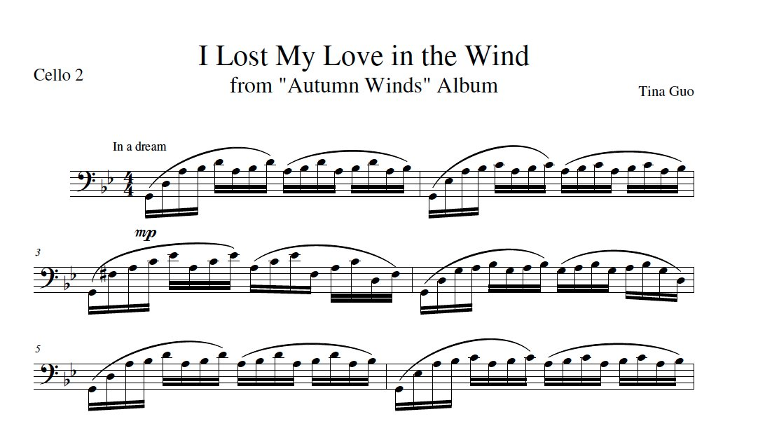 Digital Download: Cello Duet Sheet Music: 'I Lost My Love In The Wind' by Tina Guo