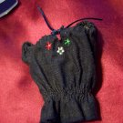 Barbie Size Fashion Avenue Black Denim Pheasants Blouse Shirt with Embroidered Flowers