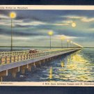 Vintage Linen Postcard Gandy Bridge Tampa St Petersburg Florida Curt Teich Rare 1 cent Stamp