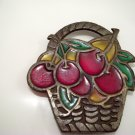 Vintage Stained Glass CAST IRON Basket with Cherries Trivet