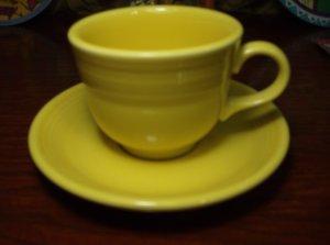 Homer Laughlin Fiesta Ware Lemony Yellow Coffee Mug Cup and Saucer Lead Free