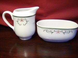 Homer Laughlin China Sugar Bowl and Creamer Rare Pristine Pattern