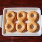 Barbie Bratz Blythe Sized 6 Orange Iced Donuts on White Serving Tray Food Accessory