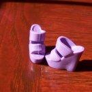 Barbie Size Lilac Stacked Wedge Platform High Heel Open Toe Sandal Shoes