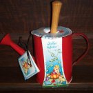 Sally's Choice Decorative Indoor Outdoor Garden Kit Red Metal Watering Can with Metal Trowel