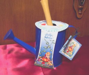 Sally's Choice Decorative Indoor Outdoor Garden Kit Blue Metal Watering Can with Metal Trowel