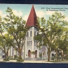 S-95 1st Congregational Church St Petersburg Florida Vintage Geniune Curteich Chicago Linen Postcard