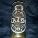 "Tuborg Pilsener Lager Green Label Denmark Brewery 440ml 6 1/4"" Tall Pull Top Beer Can Top Open"