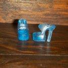 Barbie Sized Clear Blue Open Toe High Heel Platform Sandal Shoes
