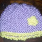 Purple with Yellow Flower Hand Knit Preemie Baby Infant Newborn Cradle Cap Hat Bonnet