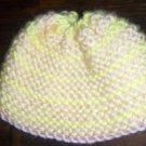 Yellow and Pink with Pink Edge Hand Knit Baby Infant Preemie to Newborn Cradle Cap Hat Bonnet