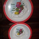 Barney the Dinosaur Baby Bop 1993 The Lyons Group Christmas Children's Plate Bowl Set