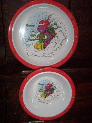 Barney the Dinosaur Baby Bop 1993 The Lyons Group Christmas Children's Plate Bowl Set