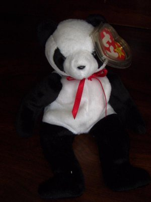 1998 Fortune the Panda Ty Beanie Babies mwmt tag protector 5th/6th Generation Retired