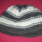 Infant Boys Striped Hand Knit Baby Bonnet Cap Charcoal Gray and White