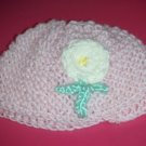 Infant Girls Hand Knit Baby Bonnet Cap Pink with Purple Flower