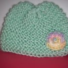 Infant Girls Hand Knit Baby Bonnet Cap Mint Green with Variegated Flower