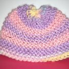 Infant Girls Hand Knit Baby Bonnet Cap Purple and Pink Variegated