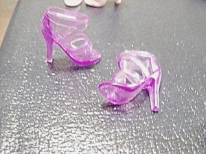 Barbie Size Clear Lilac Purple High Heel Strappy Shoes