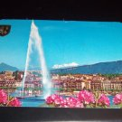 Vintage Geneva The Roadstead Switzerland International Chrome Postcard Helveta stamps
