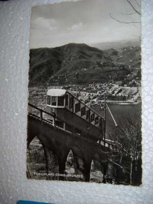 Vintage 1951 Funicolare Lift Como Brunate Photo Italian Postcard International Italy