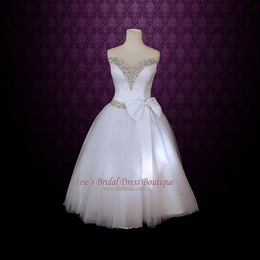 Strapless retro 50s tea length ballerina wedding dress for V neck strapless wedding dress