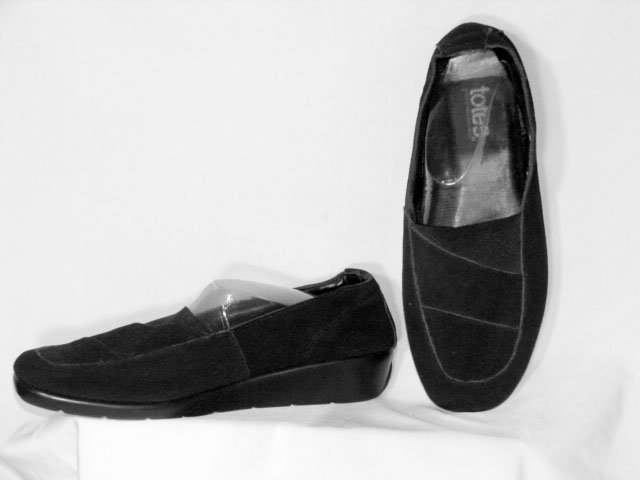 Totes Black Suede Leather Slip-On Shoes 9.5W NEW