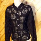 Chico's Black Spiral Burnout LS Top 2 M 10/12 CHICOS