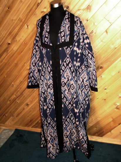 Lotus Trader Blue Black White Duster Jacket OSFA NWOT