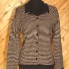 Laura Ashley Black Taupe Knit Wool Button Front Top M