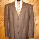 Stafford Mens Brn Tweed 3 Btn Wool Blazer 42R +Silk Tie